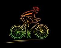 Силуэт велосипедиста спорта Стоковое Изображение