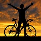 Силуэт велосипедиста Стоковое Изображение