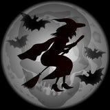 Силуэт ведьмы хеллоуина иллюстрация вектора