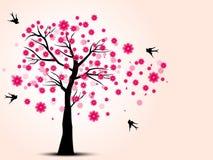 Силуэт вишневых деревьев и птицы ласточки Стоковые Изображения