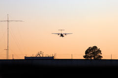 Силуэт воздушного судна пропеллера Стоковая Фотография RF