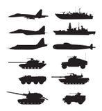 Силуэт воинской поддержки машин Силы воздушных судн Корабли и военные корабли армии Стоковая Фотография RF