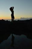 Силуэт двойника русалки Hawaiin стоковое изображение rf