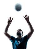 Силуэт волейбола человека стоковые изображения rf