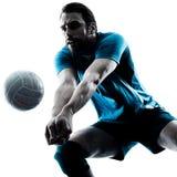 Силуэт волейбола человека стоковое изображение rf