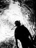 Силуэт водолаза акваланга Стоковое Изображение RF