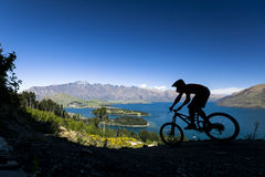 Силуэт всадника горного велосипеда в Queenstown Стоковые Фотографии RF