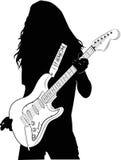 Силуэт - гитарист Стоковое Фото