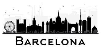 Силуэт горизонта города Барселоны черно-белый Стоковые Фотографии RF