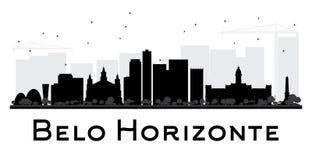 Силуэт горизонта города Белу-Оризонти черно-белый Стоковые Изображения RF