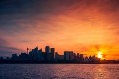 Силуэт горизонта города Сиднея Стоковая Фотография RF