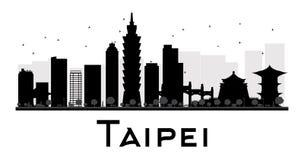 Силуэт горизонта города Тайбэя черно-белый иллюстрация вектора