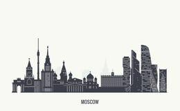 Силуэт горизонта Москвы иллюстрация штока