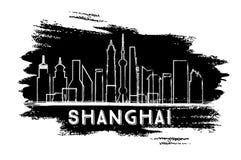Силуэт горизонта Шанхая Эскиз нарисованный рукой Стоковое Изображение RF