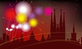 Силуэт города Барселоны, торжество, фейерверки Стоковое Изображение