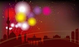 Силуэт города Берлина, торжество, фейерверки Стоковая Фотография RF
