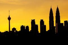 Силуэт города Куалаа-Лумпур Стоковое Изображение RF