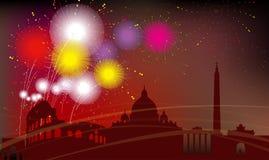 Силуэт города Рима, торжество, фейерверки Стоковое Изображение