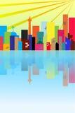 Силуэт городка в утре иллюстрация вектора