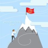 Силуэт горы команды бизнесмена взбираясь Стоковые Фотографии RF
