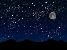 Силуэт гор небо звёздное 10 eps Стоковое Фото