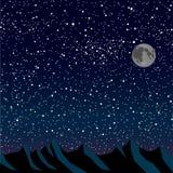 Силуэт гор небо звёздное 10 eps Стоковая Фотография
