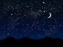 Силуэт гор небо звёздное 10 eps Стоковая Фотография RF