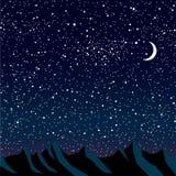 Силуэт гор небо звёздное 10 eps Стоковые Изображения