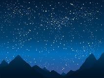 Силуэт гор небо звёздное 10 eps Стоковые Фото