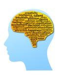 Силуэт головы и мозга в концепциях Стоковое Изображение