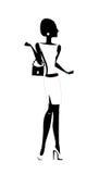 Силуэт девушки моды, вектора Стоковое Фото