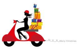 Силуэт девушки на рождестве motorcyclefor Стоковое фото RF