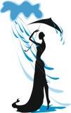 Силуэт девушки с зонтиком Стоковое Фото