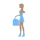 Силуэт девушки с пакетами бесплатная иллюстрация