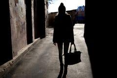 Силуэт девушки с сумкой Стоковые Изображения