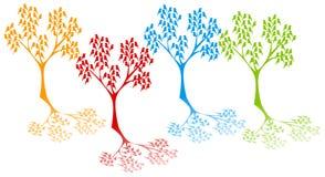 Силуэт деревьев листьев птиц Стоковые Изображения RF