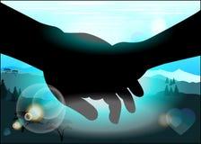 Силуэт держа руки Стоковое Фото