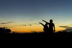 Силуэт детей Стоковая Фотография RF