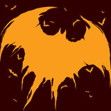 Силуэт летучих мышей - предпосылка хеллоуина Стоковые Изображения