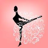 Силуэт женщины в грациозно движении иллюстрация вектора