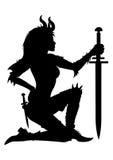 Силуэт женщины ратника Стоковое Изображение