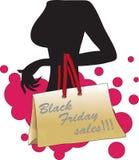 Силуэт женщины с черной сумкой продаж пятницы Стоковое фото RF