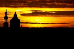 Силуэт захода солнца в Groningen Стоковое Фото