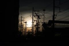 Силуэт захода солнца города Стоковые Фотографии RF