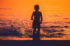 Силуэт захода солнца Стоковое Изображение RF