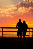 Силуэт захода солнца Стоковые Фотографии RF