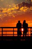 Силуэт захода солнца Стоковые Изображения RF