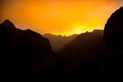 Силуэт захода солнца Стоковое Фото