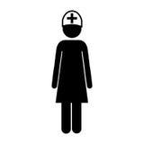 силуэт значка медсестры женщины Стоковые Изображения
