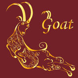 Силуэт золота козы Стоковые Фотографии RF